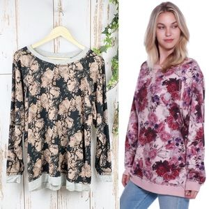 Black & Rose Blush Oversized Floral Sweatshirt EUC